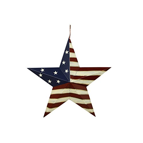 American Barn Star, Metal Patriotic Old Glory Americana Flag Barn Star Wall Decor for July of 4th Independence Day (S-Stripes)