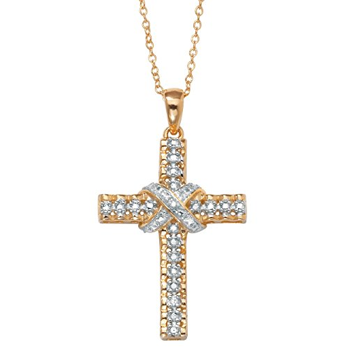 White Diamond Accent 18k Gold over .925 Silver Religious Cross Pendant Necklace 18