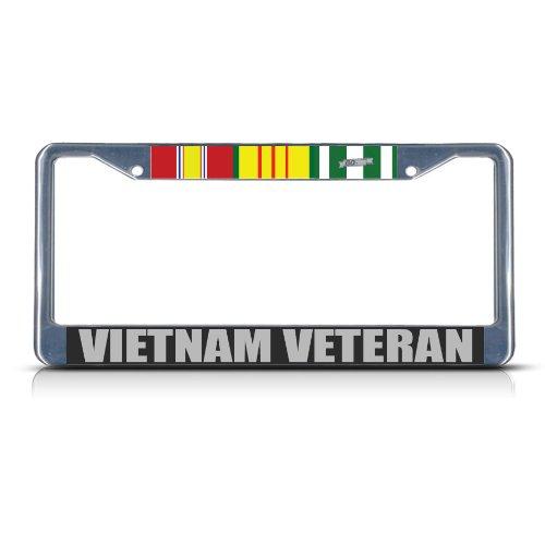 (Metal License Plate Frame Solid Insert Vietnam Veteran Car Auto Tag Holder - Chrome 2 Holes, Set of 2)