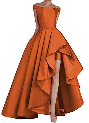 (Homdor High Low Off The Shoulder Prom Dresses Long Satin Evening Formal Gowns)