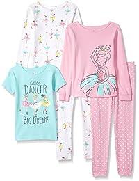 Girls' 5-Piece Cotton Snug-Fit Pajamas