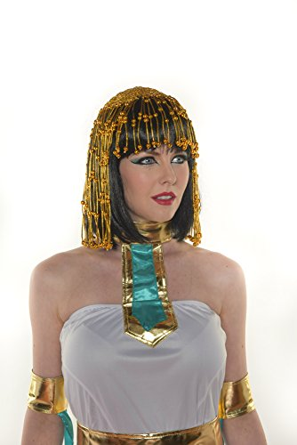 Halloween Egyptian Villain Queen Cleopatra Cleo Black Short Cosplay Wig with Bangs H0628 -
