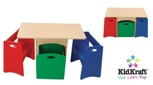 KidKraft Table with Primary Benches (Activity Table With Storage)
