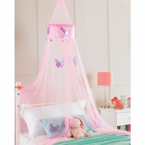 Childrens Girls Bed Canopy Mosquito Fly Netting Net 30x230cm - Pink Butterfly by Country Club