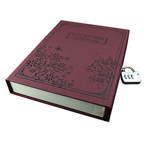 DoubleBlack Tagebuch mit Festem Einband, Vintage-Design, Rot, in Geschenkbox mit Kombinationsschloss, Schwarz
