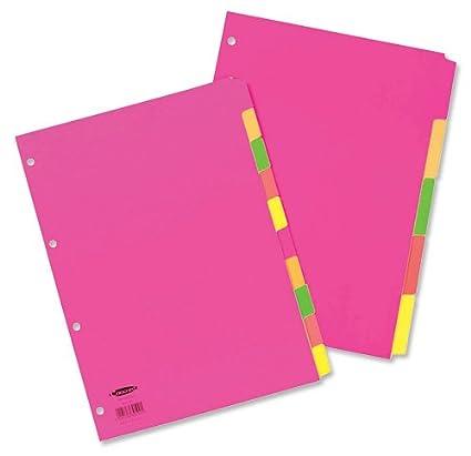 Concord - Separadores para archivador (230 micras, 4 perforaciones, A4, 10 unidades, pestañas de colores fluorescentes)