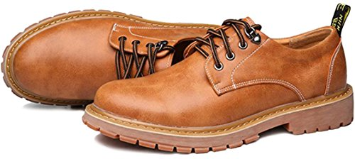PPXID Mens British Style Lace Up Casual Work Shoes Yellow 3J4Txx
