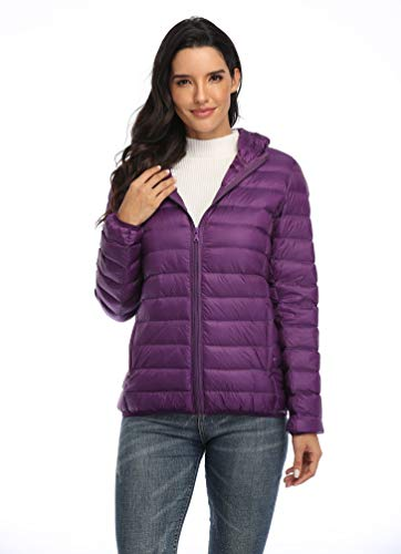 Old-to-new Women's Short Hooded Puffer Jacket Lightweight Packable Down Coats