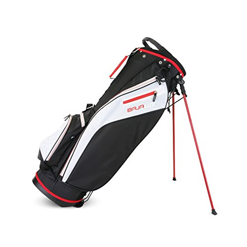 Sahara Baja Lite Golf Stand Bag, Black/White/Red by Sahara