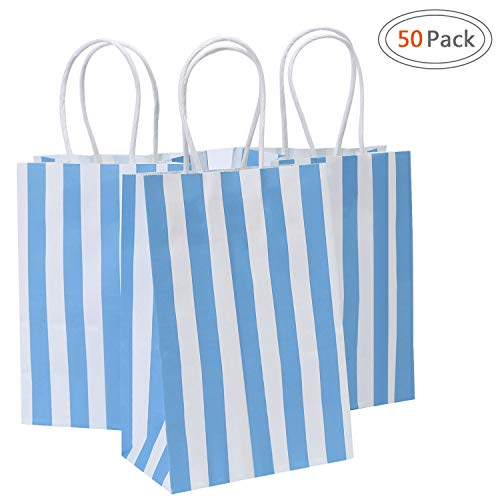Road 5.25x3.25x8 Inches 50pcs Blue Stripes Kraft Paper Bags, Small Shopping Bag, Retail bag, Craft Paper Bag, Gift ()