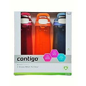 Contigo Cortland Autoseal Water Bottles, 24oz-3 Pack (Sangria,Tangerine & Stormy Weather)