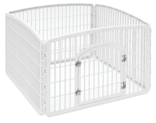 - IRIS 24'' Exercise 4-Panel Pet Playpen with Door, Pearl White
