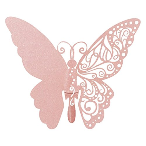 YJYdada New 50 Pcs Butterfly Wine Glass Paper Card for Wedding Party White (Pink)