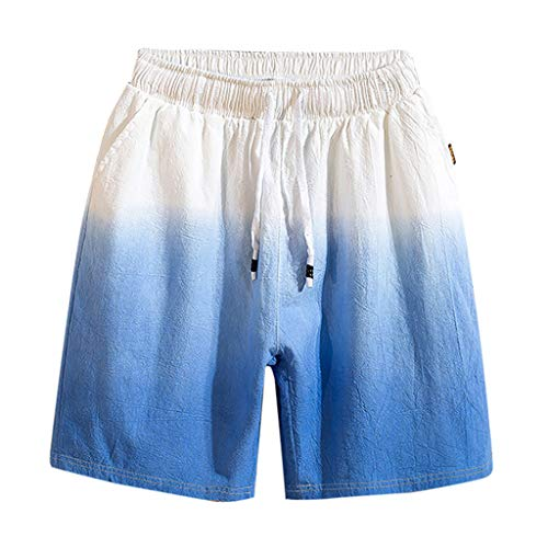 - BingYELH Men's Drawstring Walk Short Paisley Prints Linen Cotton Tropical Hawaiian Shorts Flat Front Chino Short Boardshorts Dark Blue