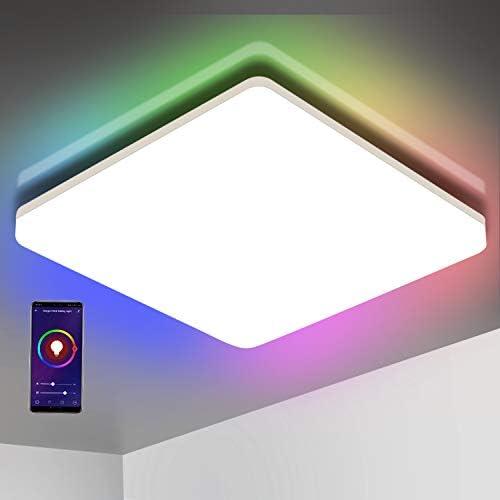 chollos oferta descuentos barato Oeegoo Wifi Smart Lámpara LED de techo control de aplicación control por voz Alexa Google Assistant 15W IP54 cambio de color regulable blanco cálido y frío luz ambiental RGB