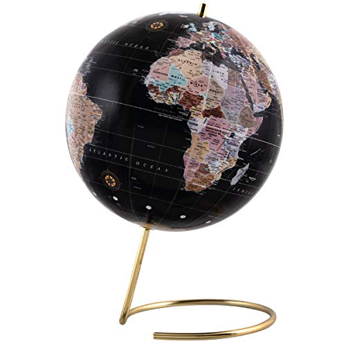Refinery & Co. Desktop Globe, Vintage-Style Tabletop Home or Office Décor, Contemporary Decorative Spinning World with Gold Polished Brass Base, Best Wanderlust Gift for Traveler or Jetsetter from Refinery