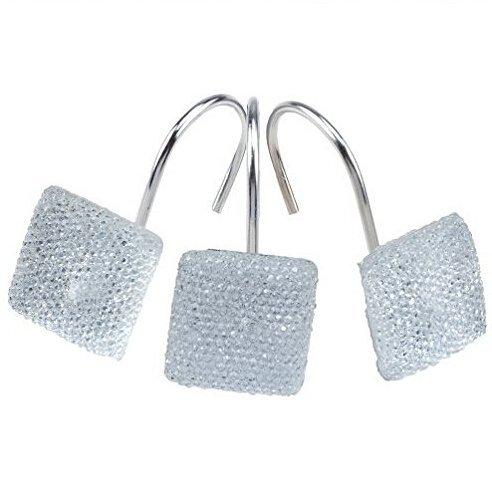 AGPtek-12-PCS-Decorative-Rolling-Shower-Curtain-Rhinestone-Star-Diamond