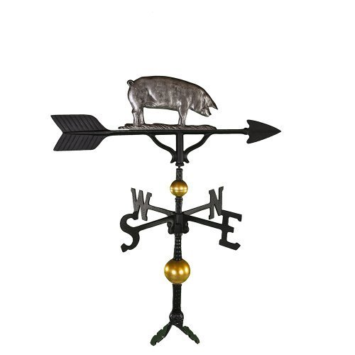Montague Metal Products 32-Inch Deluxe Weathervane with Swedish Iron Pig Ornament by Montague Metal Products