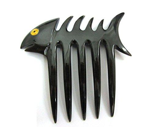 (Marycrafts Black Decoration Fish Bone Buffalo Horn 5 Prongs Hair Fork, Hair Comb, Hair Pin, Hairpin, Hair Accessory, Hair Toy Handmade)
