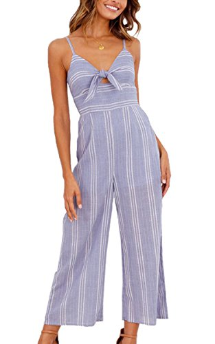 ECOWISH Womens Jumpsuits Sexy Striped Spaghetti Strap Backless Wide Leg Jumpsuit Rompers Stripe L