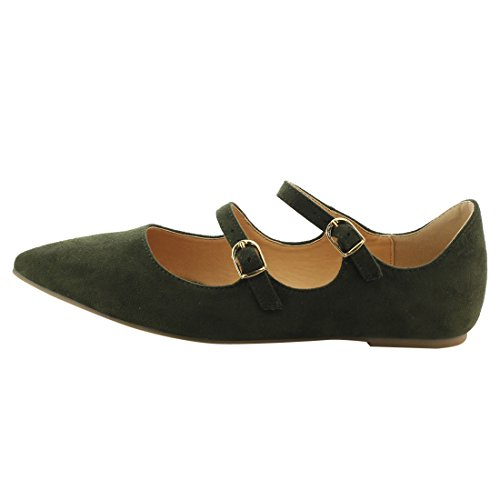 Ballet Flats Dual Scalloped BETANI Dress Women's Buckle FJ81 Edge Straps Olive f0nnqCUxz