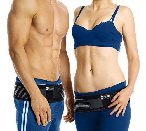 Copper Compression Sacroiliac SI Joint Belt. SI Lock Support Stabilizer for Hip, Pelvic Instability, Lower Back Sciatica Nerve Pain, Sacrum Pain, Herniated Disk. SI-LOC Brace for Women Men (One Size) (Sacroiliac Joint Exercises For Stability And Pain Relief)