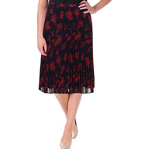 Lauren Ralph Lauren Womens Colyn Chiffon Accordian Pleat A-Line Skirt Navy 6 -