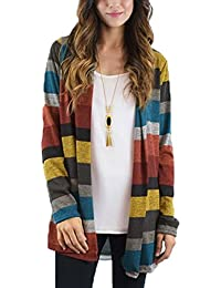 Womens Striped Long Sleeve Open Front Cardigan Stitching...