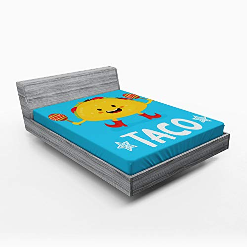 Ambesonne Mexican Fitted Sheet, Dancing Funny Taco Smiling Face and Maracas Childish Icon Cartoon, Soft Decorative Fabric Bedding All-Round Elastic Pocket, Queen Size, Earth Yellow Blue Vermilion -