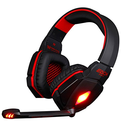 DVsong EACH G4000 Professional PC Gaming Bass Earphones 3.5mm LED Light Cool Style Stereo Over-Ear Headphone with Mic HiFi Headset with Noise Cancelling and Volume Control Function - Red