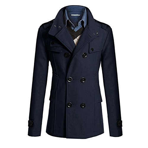 Lemumu Work Cotton Casual Brown Men's navy Black Blend Solid blue Long Coat Grey Sleeve Blue Fashion Trench Polyester 8wgwrqx