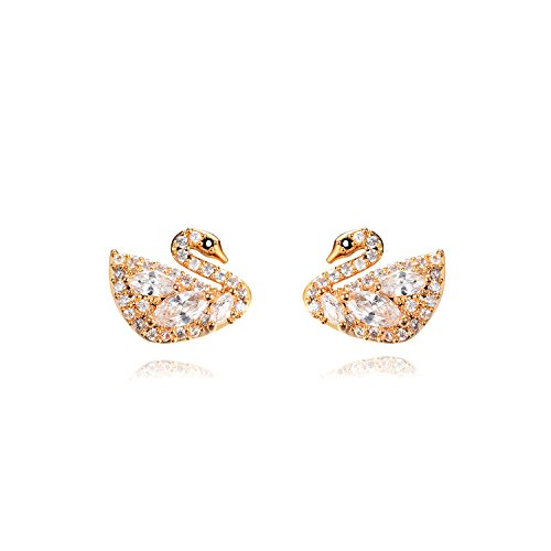 Ginasy New Design Studs Earrings in Cubic Zirconia Genuine 18K Gold Plated Brass, Fine Jewelry for Fashion or Wedding (Gold CZ goose - Shape In Mooney