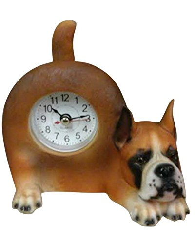Small Boxer Dog Desk Clock with Wagging Tail