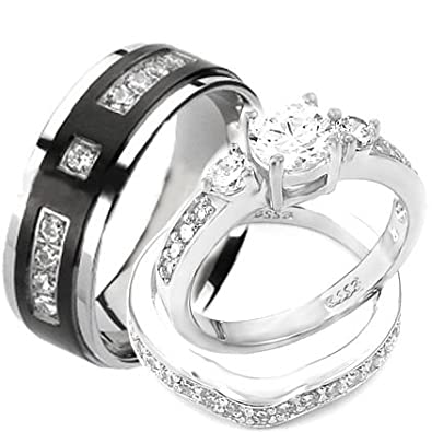 wedding rings set his and hers titanium stainless steel engagement bridal rings set size - Engagement And Wedding Ring Sets