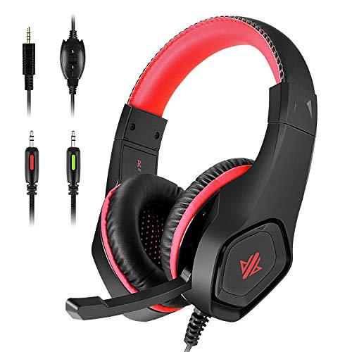 Lioeo Stereo Gaming Headset for PC, PS4, Xbox One Controller, Noise Isolation Over Ear Game Headphones with Mic, Surround Sound for Laptop Mac Computer Switch Games (Red)