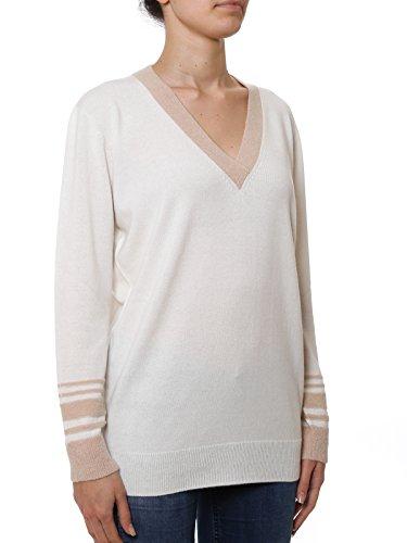 Agnona Mujer AMO60A0009180 Blanco/Rosa Cachemir Suéter