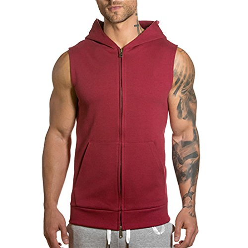 ALAPUSA Men's Sleeveless Zip up Hoodie Vest (US,S/Asia,M) Wine (Aynsley Henley)