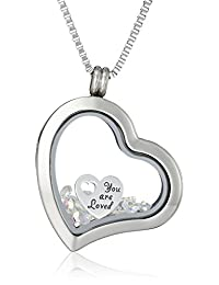 "Charmed Lockets ""You Are Loved"" Swarovski Crystal Charm Heart Locket Necklace"
