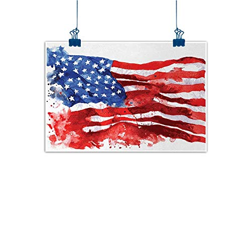 - Sunset glow Canvas Wall Art American,Flag of America Watercolor Splash National Independence Symbol Abstract Art,Red Blue White 20