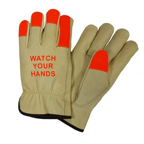 West Chester 990KOT Select Grain Cowhide Leather Driver Safety Industrial Gloves with Keystone Thumb, Gunn Pattern, Shirred Elastic Wrist Cuff, 8.5