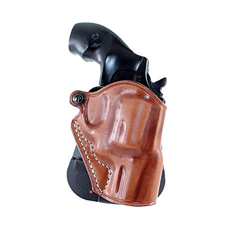 Premium Leather OWB Paddle Holster Open Top Fits Charter Arms Bulldog 44 Special Standart 2.5''BBL, Right Hand Draw, Brown Color #1475# (Best Holster For Charter Arms Bulldog)
