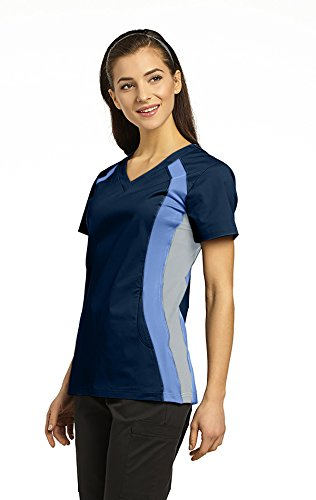 (Allure by White Cross Women's V-Neck Side Panel Solid Scrub Top Medium Navy/Ceil/Grey)