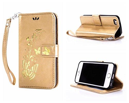 Voguecase® Pour Apple iPhone SE Coque, Étui en cuir synthétique chic avec fonction support pratique pour Apple iPhone SE (Papillon d'or-Or)de Gratuit stylet l'écran aléatoire universelle