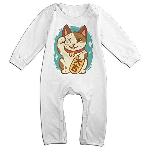 Baby Infant Romper Maneki-neko Long Sleeve Bodysuit Outfits Clothes White 12 (Maneki Neko Halloween Costume)