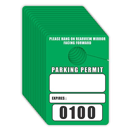 Parking Permit Hang Tags Blank Temporary Pass (Pack of 100) Car Vehicle Parking Management Green 3.30 x 4.75 inches (0001 to 0100) Numbered (Tags 100 Hang)