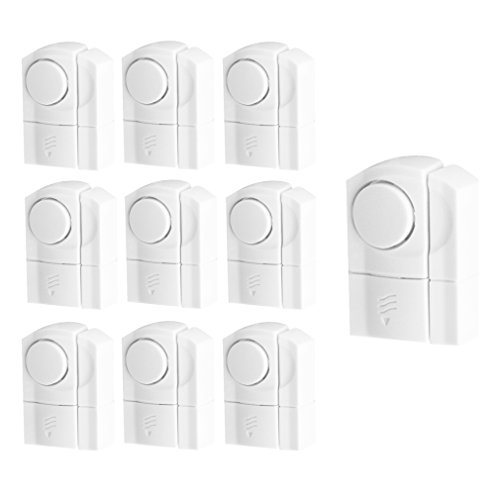 (Evelots Set Of 10 Wireless Door & Window Alarms, Entrance Alerts, White)