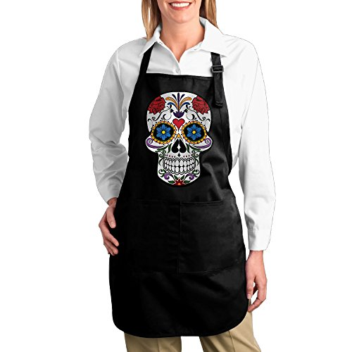 Nascar Halloween Costumes Toddler (Floral Skull Kitchen Aprons For Women Men,Cooking Apron,bib Apron With Pockets)