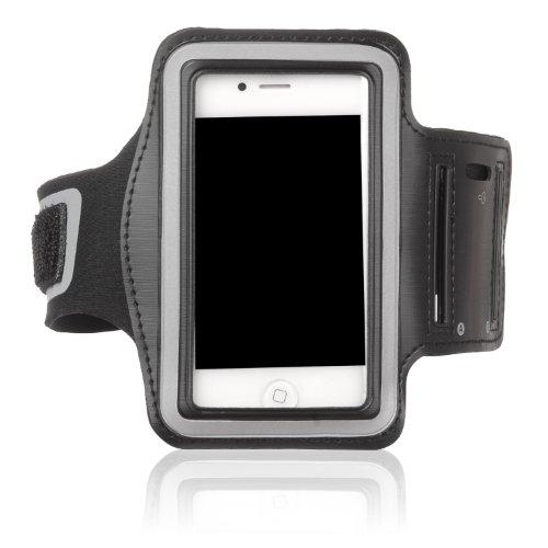 Tinxi Neopren Sport Armband Tasche Armtasche Schutzhülle Etui Case Hülle Handytasche für Apple iPhone 4 iPhone 3GS & iPod Touch für Sport Jogging und Fitnessstudio Schwarz