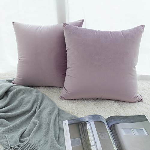 UGASA Velvet Pillow Covers Decorative Throw Cushion Covers, 2 Pc, 20x20inch, Pink Lavender