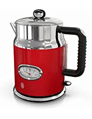 Russell Hobbs Retro Style 1.7L Electric Kettle, Red & Stainless Steel, KE5550RDR